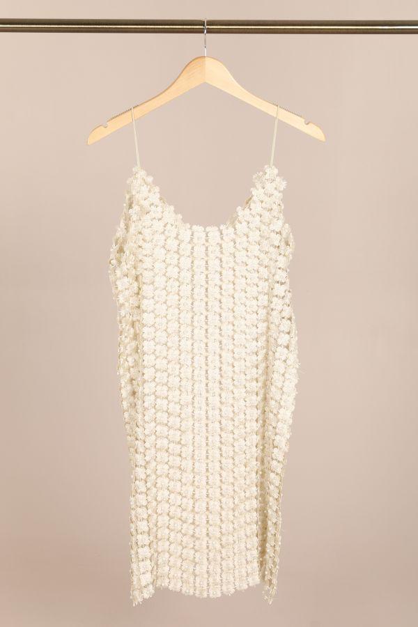 By Swan - metallic flower kjole - Beige