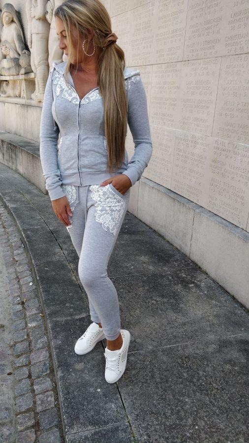 Jebine lace joggingsæt - Grå - 1366 - dame