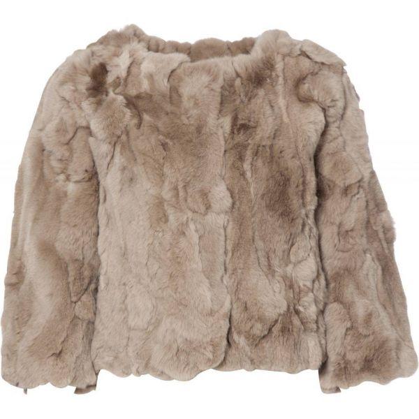 Kort pels jakke med 3/4 ærmer taupe 30349BF