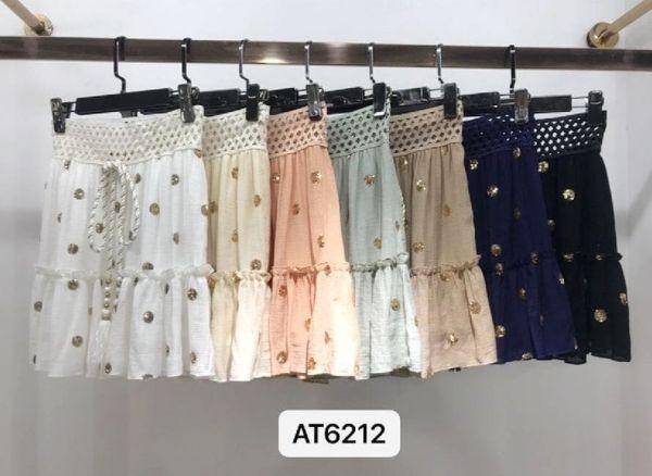 Azaka kort nederdel - cream - kvinde - AT6212