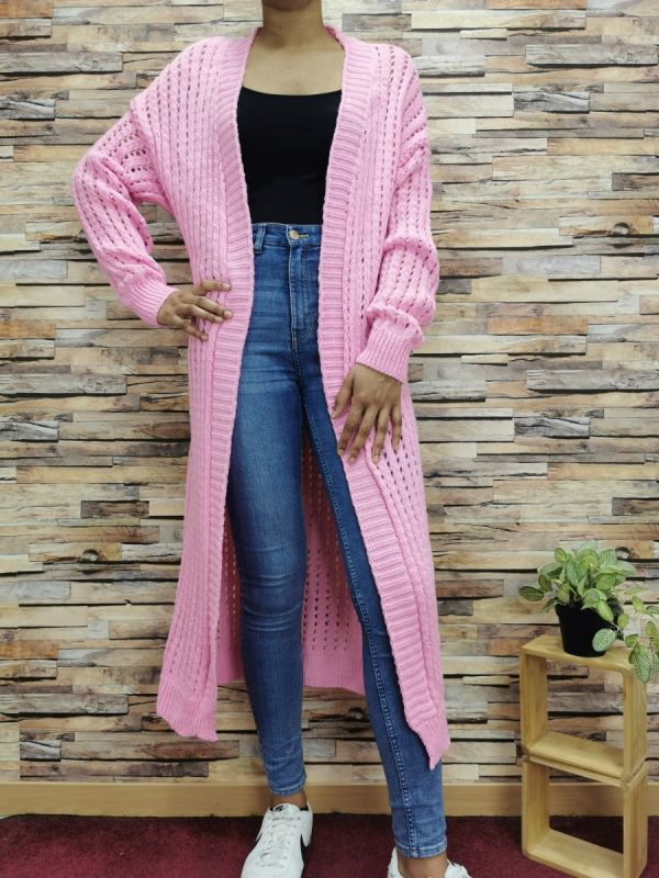 Zafa strik cardigan kvinde 7008 rosa