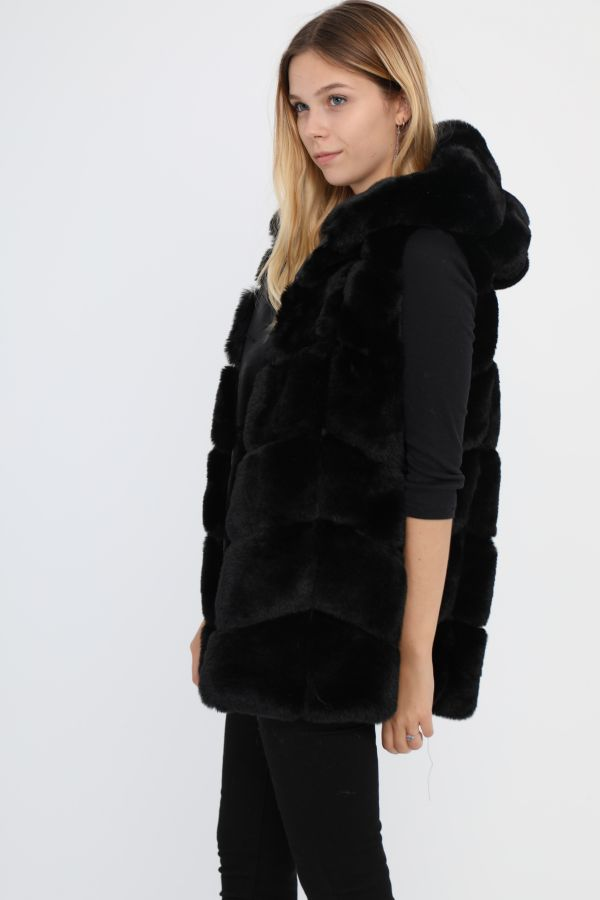 Masha Fake fur vest - Gs262-6 Sort