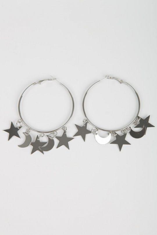 Stars and moon ørerigne - Sølv