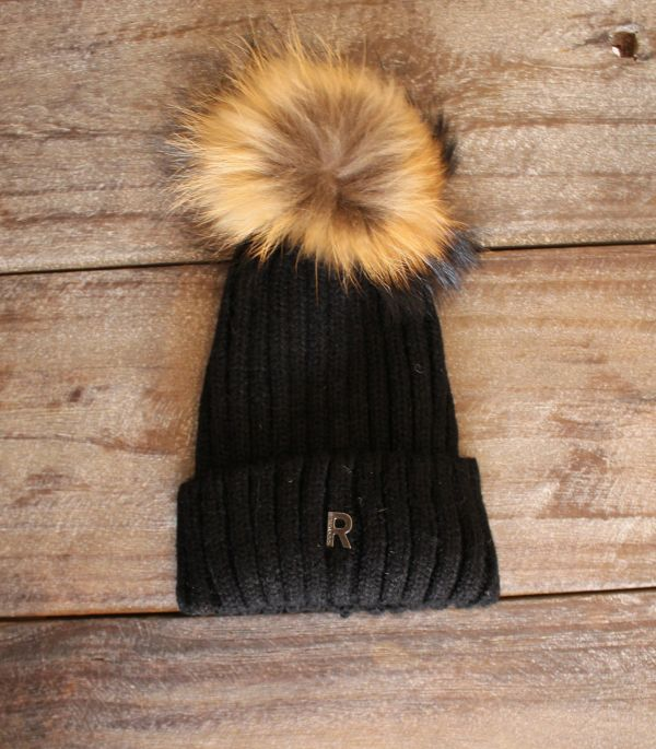 rock'n blue hat pom pom beanie - sort natur ægte