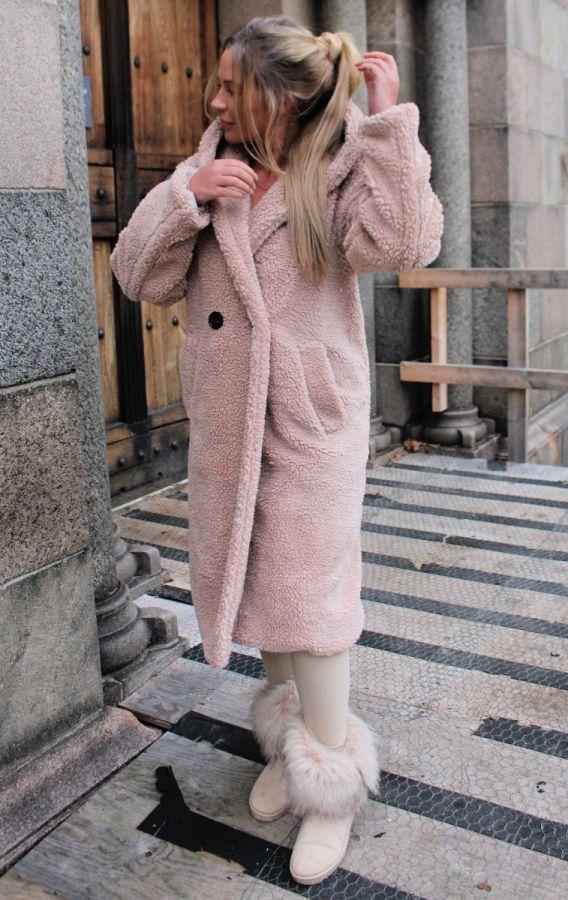 Ellalu Teddy jakke mørk beige