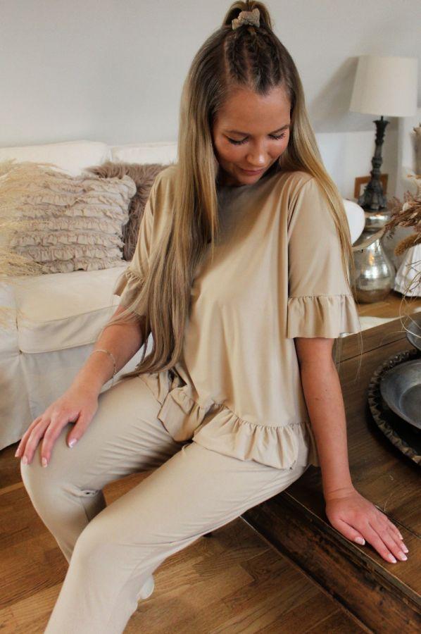 Liberte - Alma frill t-shirt - sand - 9549 - dame