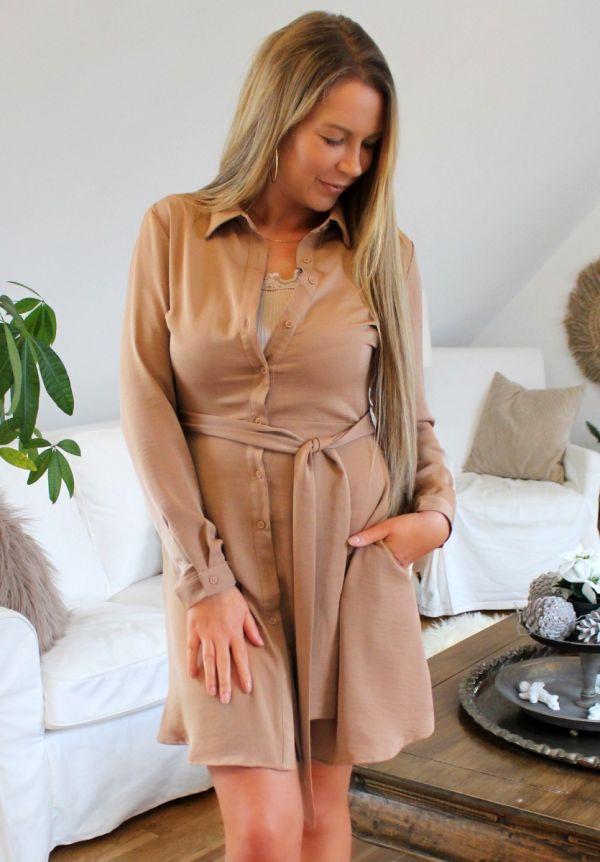Carla skjorte kjole AP-1099 camel