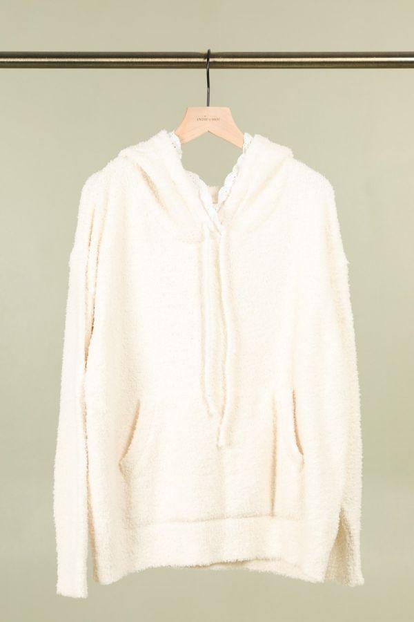 Mona fluffy hættetrøje IY21683 hvid