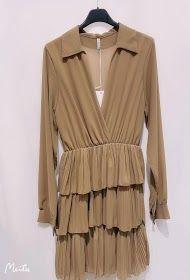 Jessy kjole med flæser 20313 camel