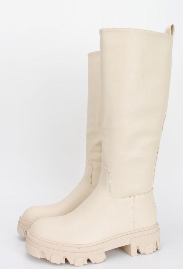 Anna lang støvle kvinde cream DMLM2826