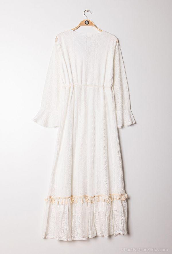 Lang boheme kjole - 2021 - Hvid