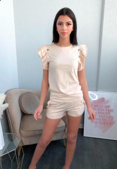 Emma sæt med top og shorts dame WJ8828 cream