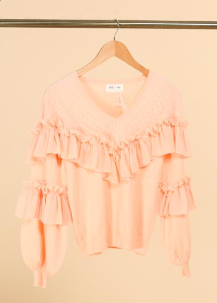 Ally bluse med flæser kvinde IH20694 rosa